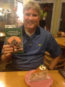 "Mike Christensen celebrating the publication of ""Of Mudcat, Boo, The Rope and Oil Can""."